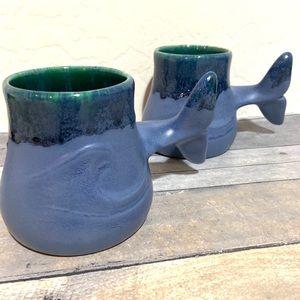 Whale Tail Coffee Mugs Signed Hand Made Doug Wylie